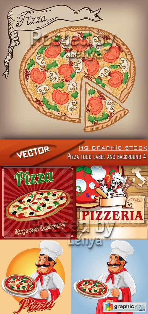Stock Vector - Pizza food label and backround 4