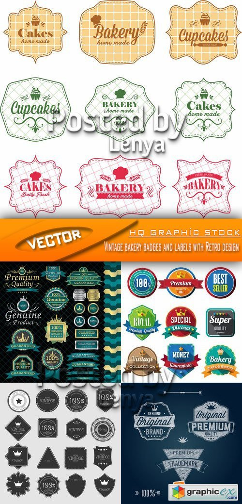 Stock Vector - Vintage bakery badges and labels with Retro design