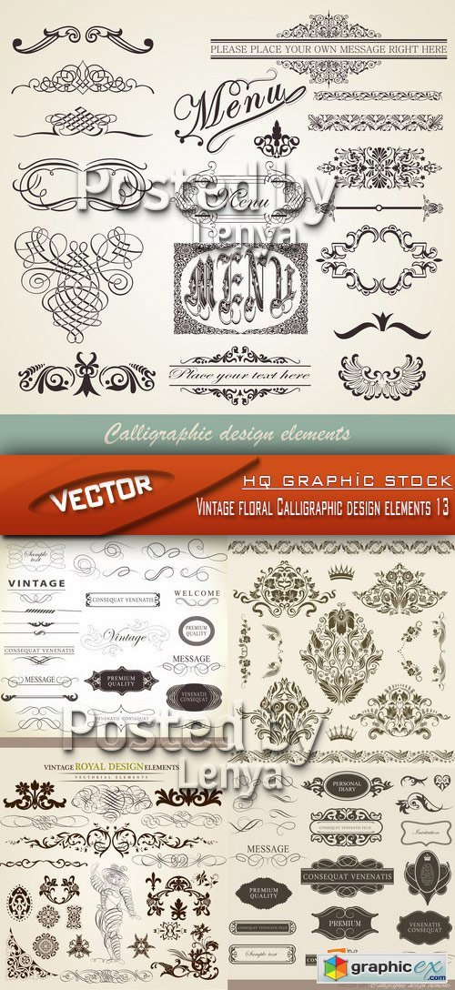 Stock Vector - Vintage floral Calligraphic design elements 13