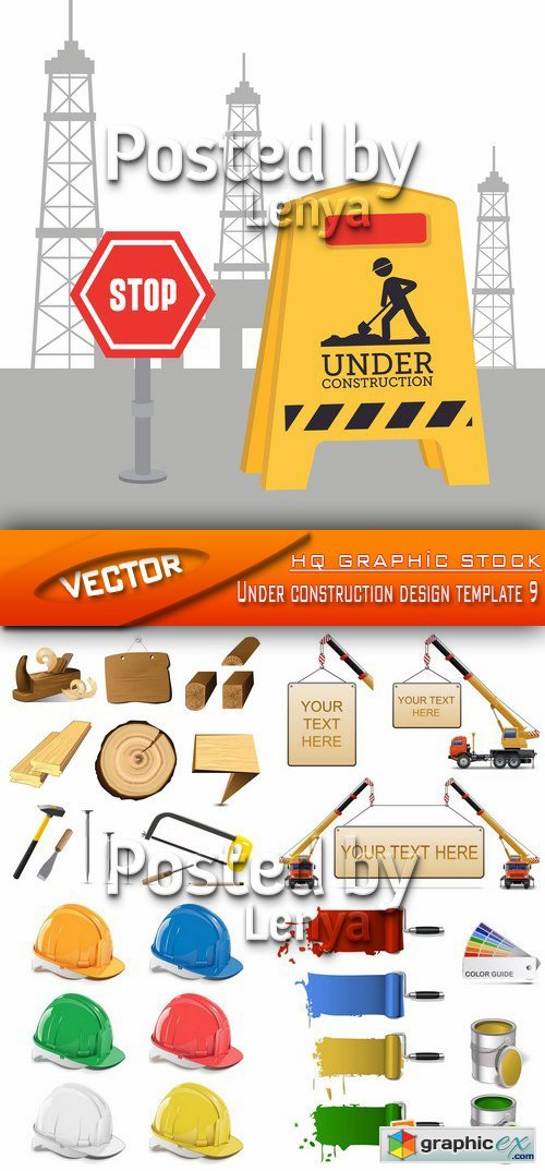 Stock Vector - Under construction design template 9
