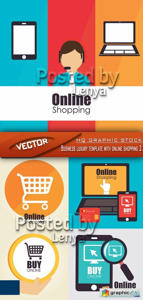 Stock Vector - Business luxury template with online shopping 3