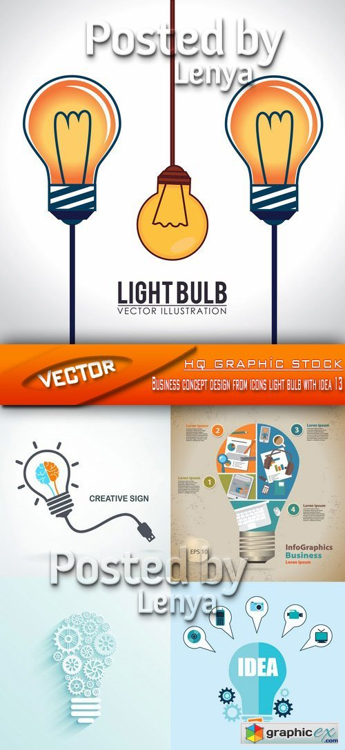 Stock Vector - Business concept design from icons light bulb with idea 13
