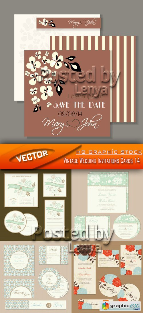 Stock Vector - Vintage Wedding Invitations Cards 14