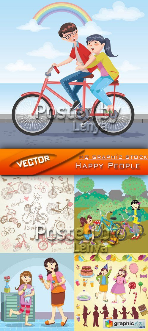 Stock Vector - Happy Peoples