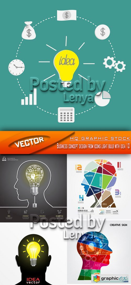Stock Vector -  Business concept design from icons light bulb with idea 12