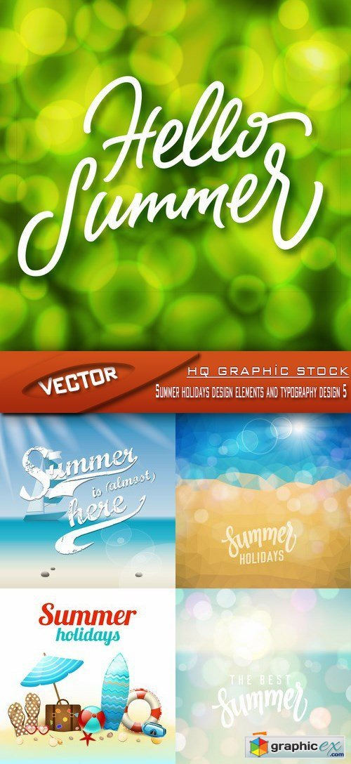 Stock Vector - Summer holidays design elements and typography design 5