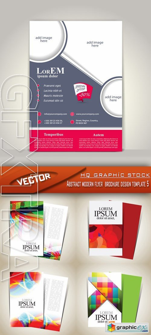 Stock Vector - Abstract modern flyer brochure design template 5