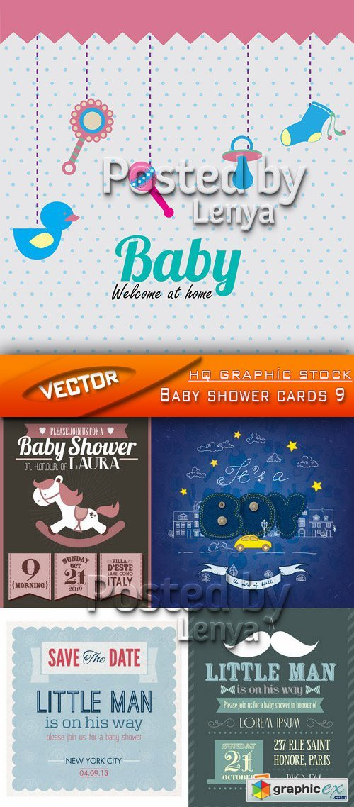 Stock Vector - Baby shower cards 9