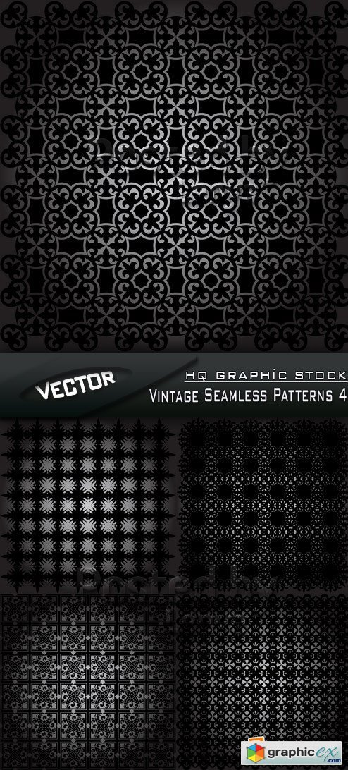 Stock Vector - Vintage Seamless Patterns 4