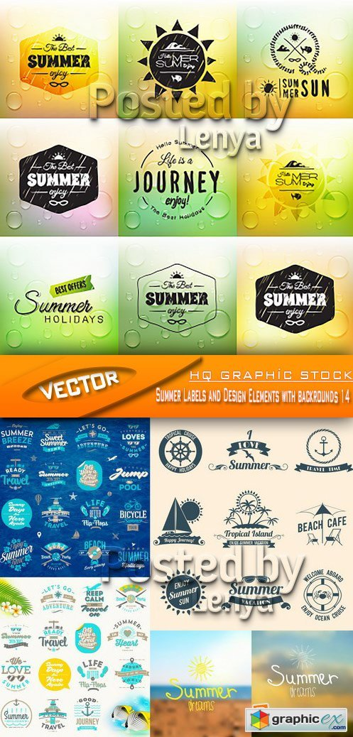 Stock Vector - Summer Labels and Design Elements with backrounds 14