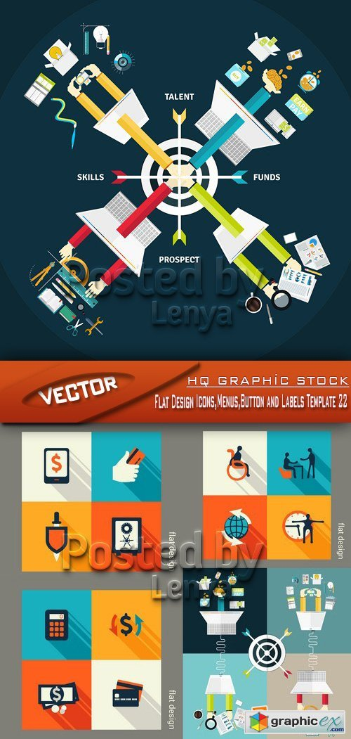 Stock Vector - Flat Design Icons,Menus,Button and Labels Template 22