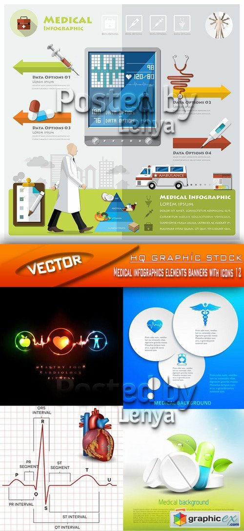 Stock Vector - Medical infographics elements banners with icons 12