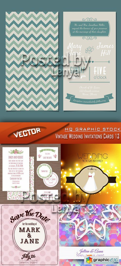 Stock Vector - Vintage Wedding Invitations Cards 12