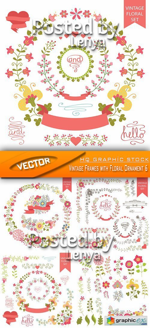 Stock Vector - Vintage Frames with Floral Ornament 6