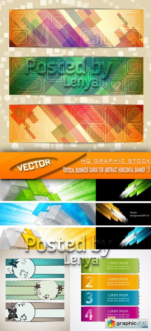 Stock Vector - Vertical business cards for abstract horizontal banner 15