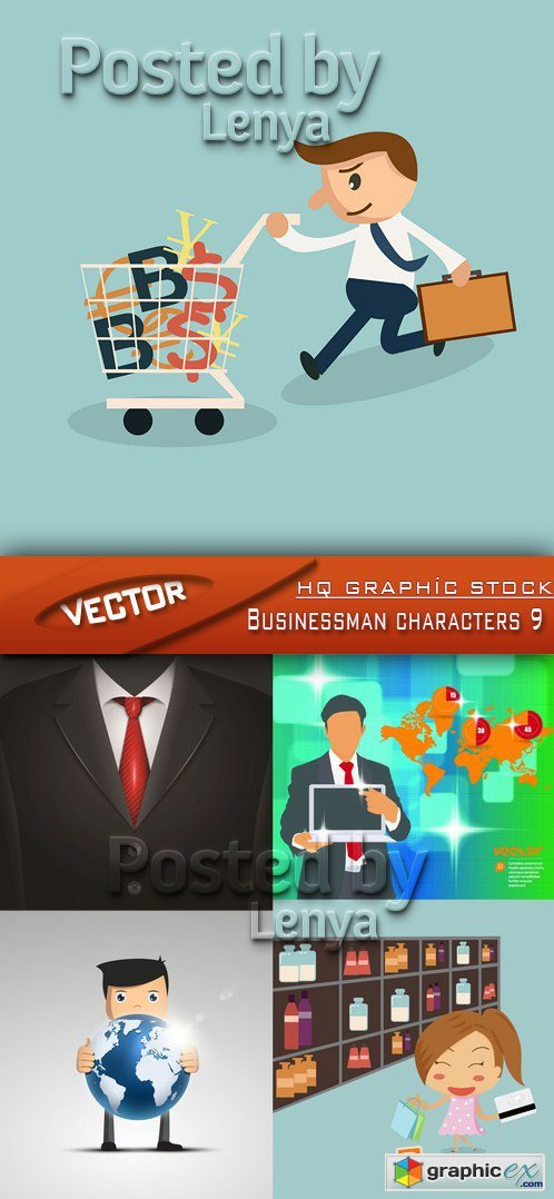 Stock Vector - Businessman characters 9