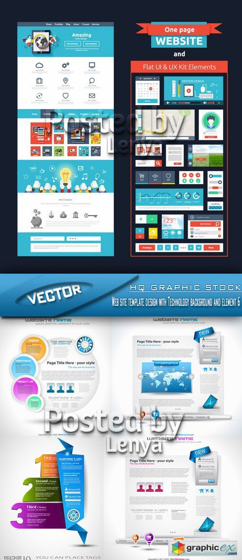 Stock Vector - Web site template design with Technology background and element 6