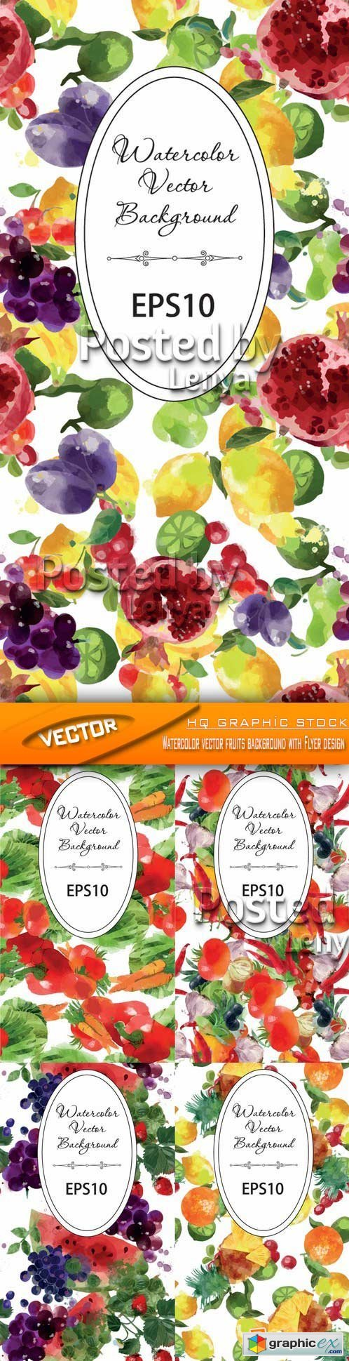 Stock Vector - Watercolor vector fruits background with Flyer design