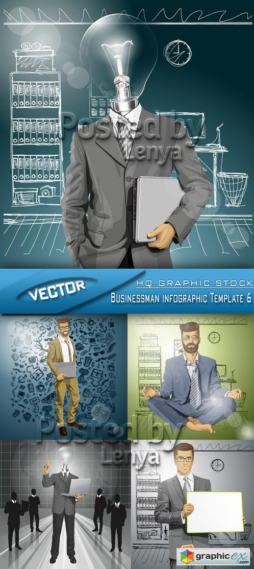 Stock Vector - Businessman infographic Template 6