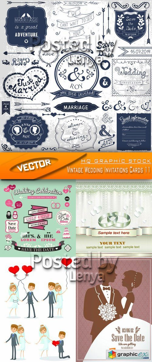 Stock Vector - Vintage Wedding Invitations Cards 11