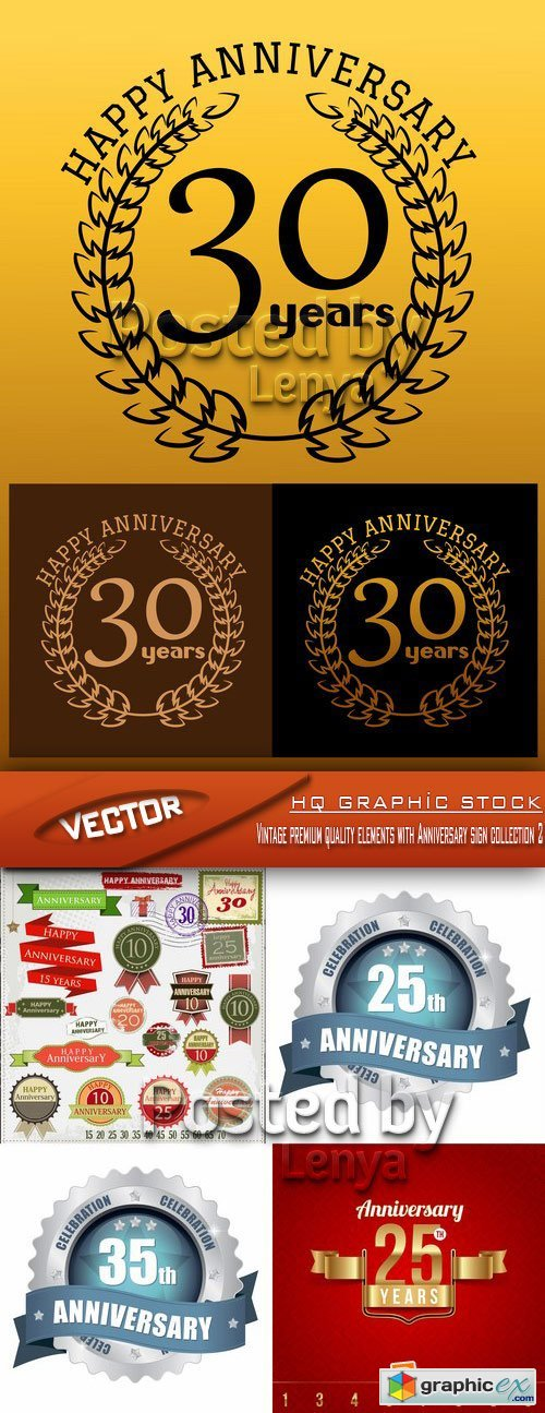 Stock Vector - Vintage premium quality elements with Anniversary sign collection 2