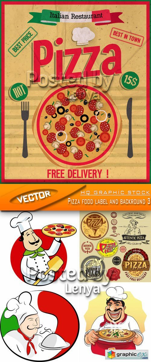 Stock Vector - Pizza food label and backround 3