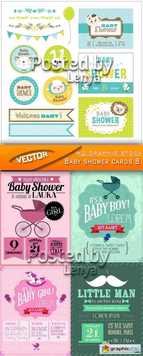 Stock Vector - Baby shower cards 8