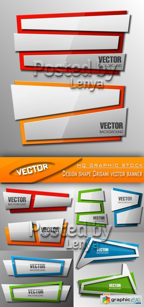 Stock Vector - Design shape Origami vector banner