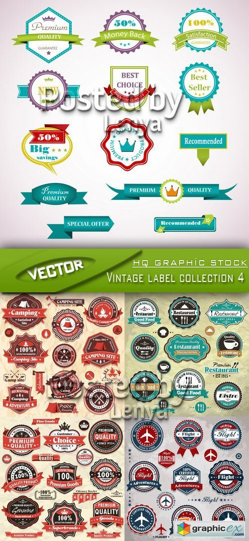 Stock Vector - Vintage label collection 4
