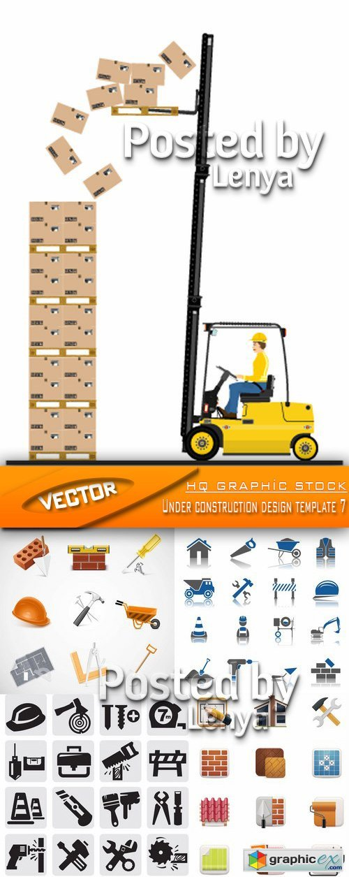 Stock Vector - Under construction design template 7