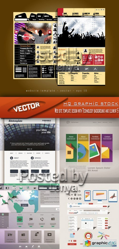 Stock Vector - Web site template design with Technology background and element 5