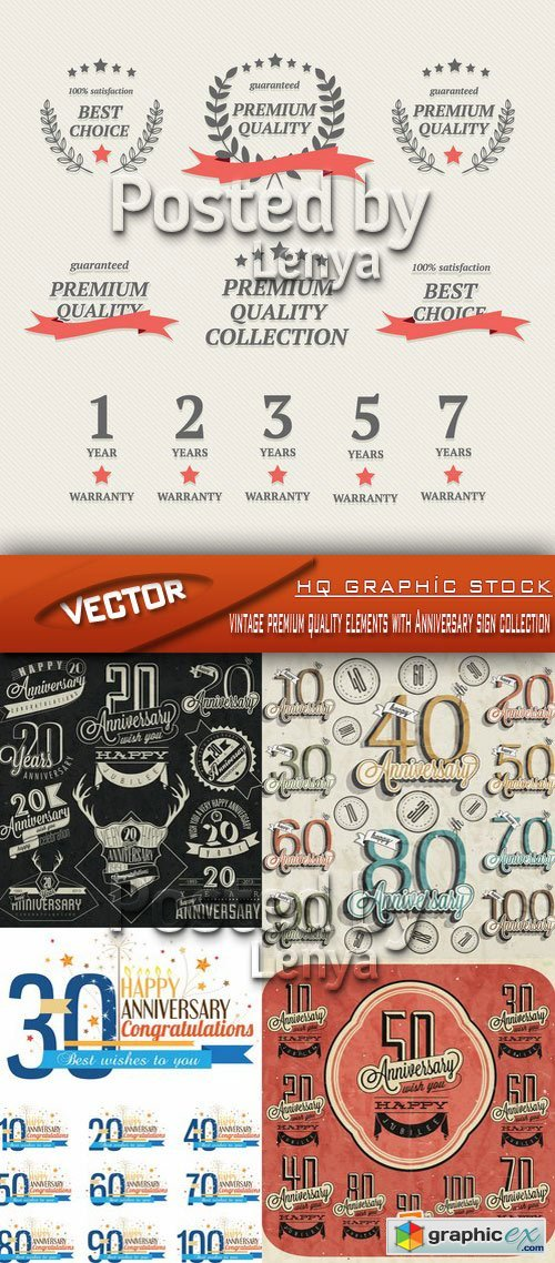 Stock Vector - Vintage premium quality elements with Anniversary sign collection