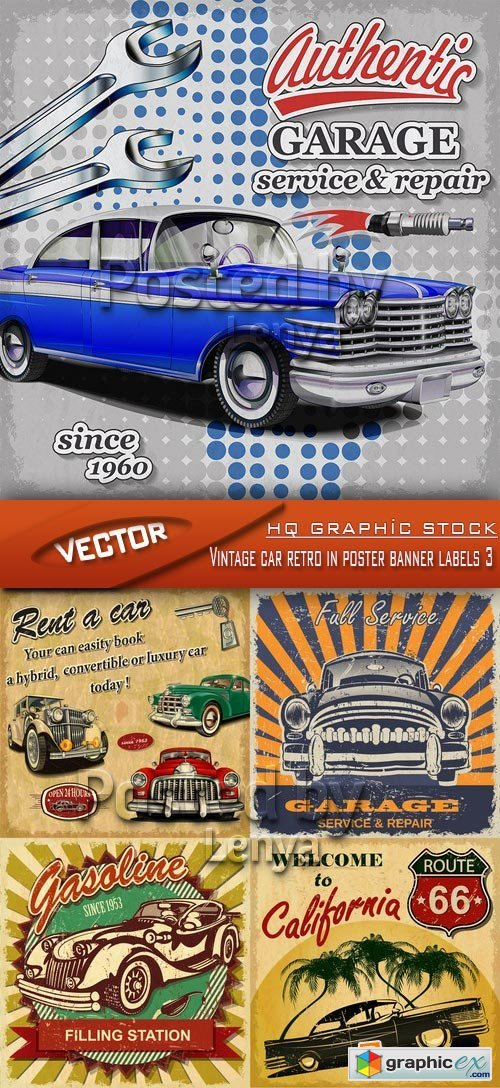 Stock Vector - Vintage car retro in poster banner labels 3