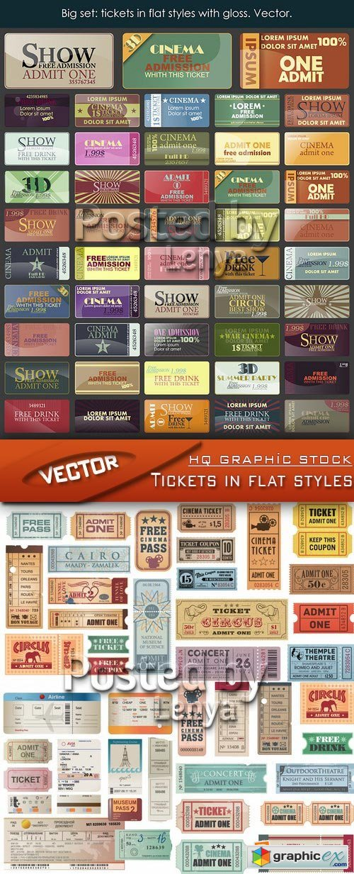 Stock Vector - Tickets in flat styles