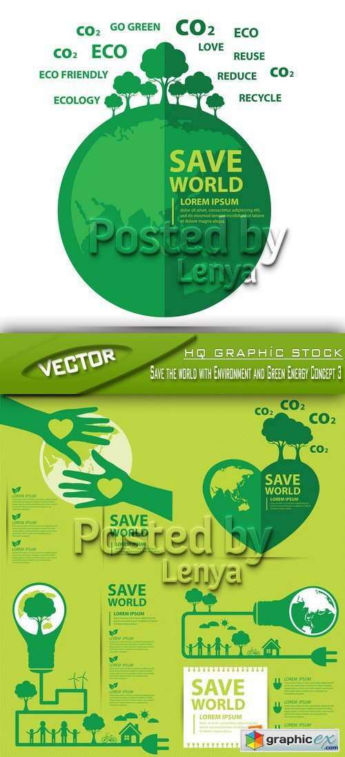 Stock Vector - Save the world with Environment and Green Energy Concept 3