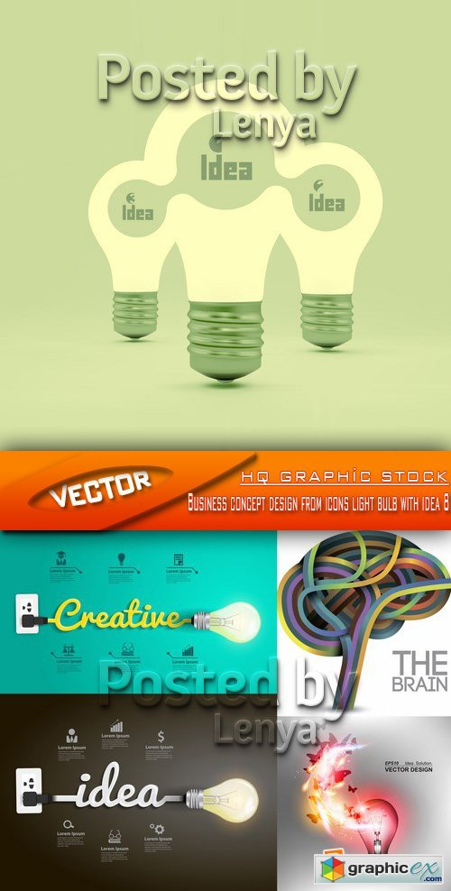 Stock Vector - Business concept design from icons light bulb with idea 8