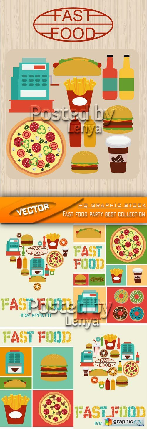 Stock Vector - Fast food party best collection