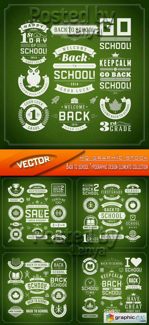 Stock Vector - Back to school Typographic design elements collection
