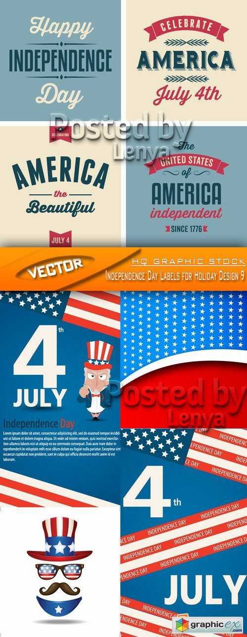 Stock Vector - Independence Day Labels for Holiday Design 9