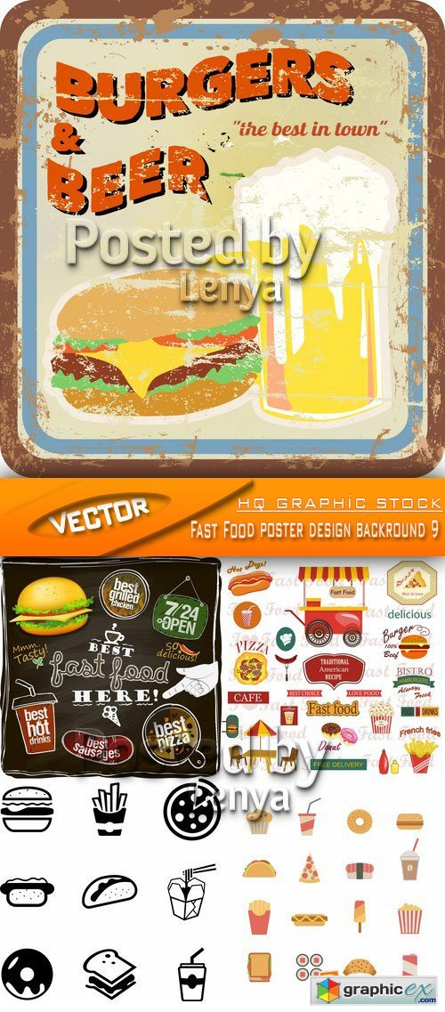 Stock Vector - Fast Food poster design backround 9