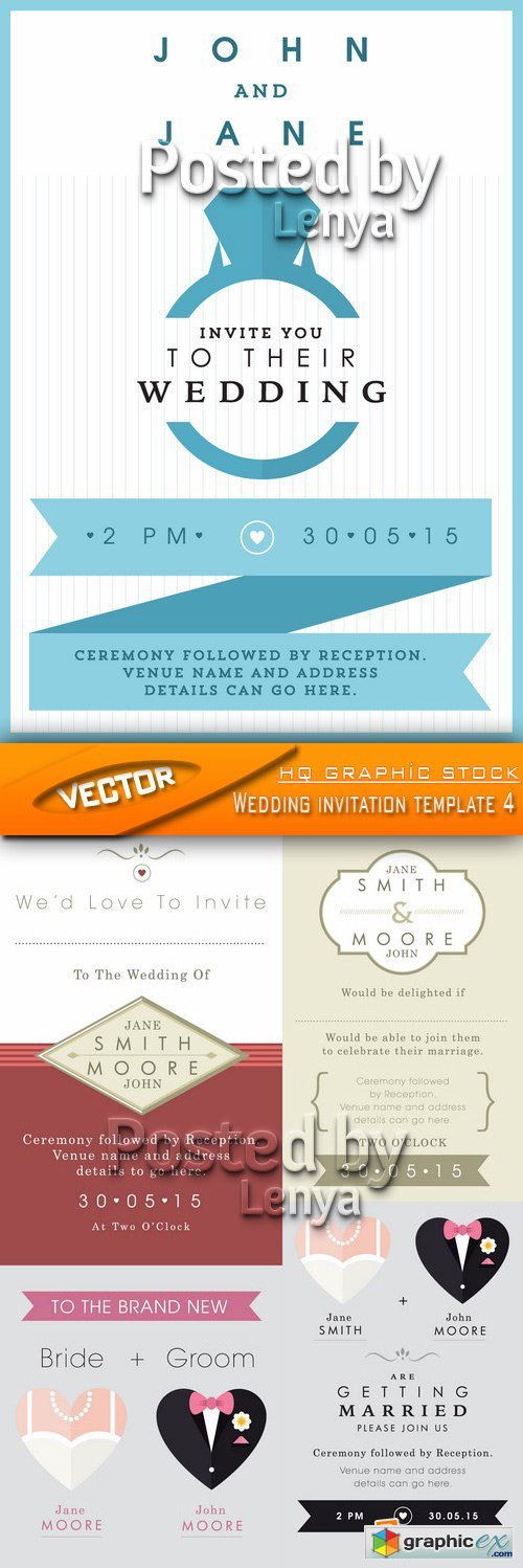 Stock Vector - Wedding invitation template 4