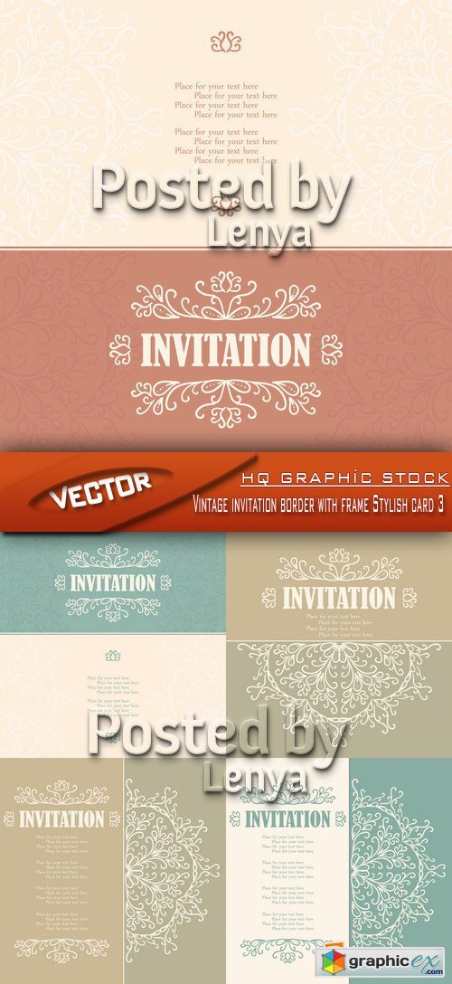 Stock Vector - Vintage invitation border with frame Stylish card 3