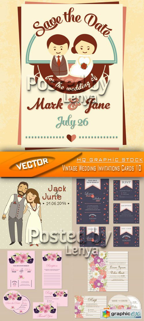 Stock Vector - Vintage Wedding Invitations Cards 10