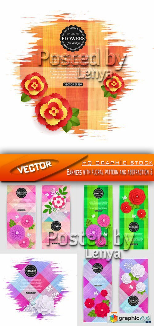 Stock Vector  - Banners with floral pattern and abstraction 2