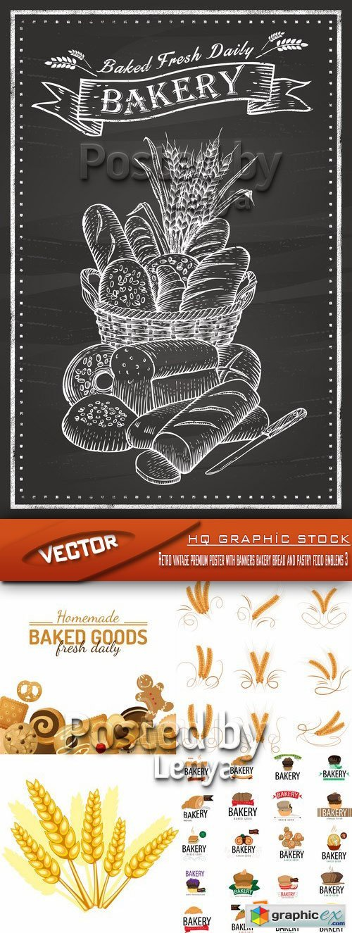 Stock Vector - Retro vintage premium poster with banners bakery bread and pastry food emblems 3