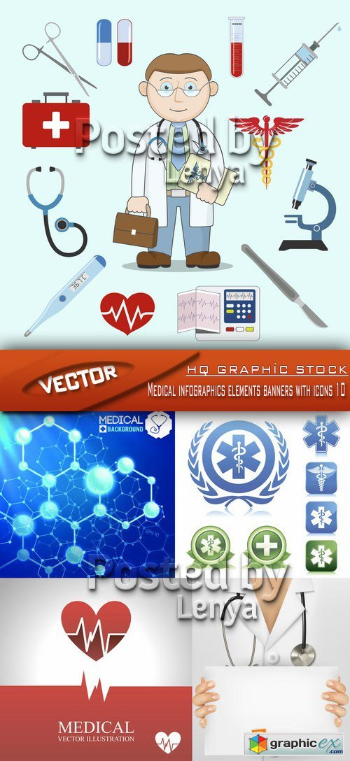 Stock Vector - Medical infographics elements banners with icons 10