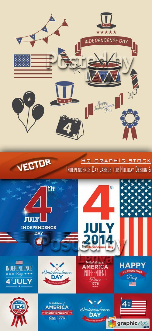 Stock Vector - Independence Day Labels for Holiday Design 6
