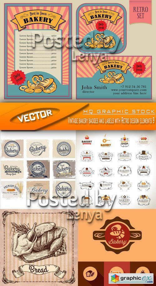 Stock Vector - Vintage bakery badges and labels with Retro design elements 9
