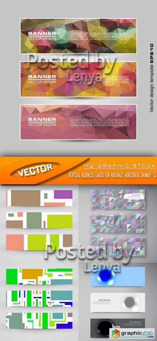 Stock Vector - Vertical business cards for abstract horizontal banner 13