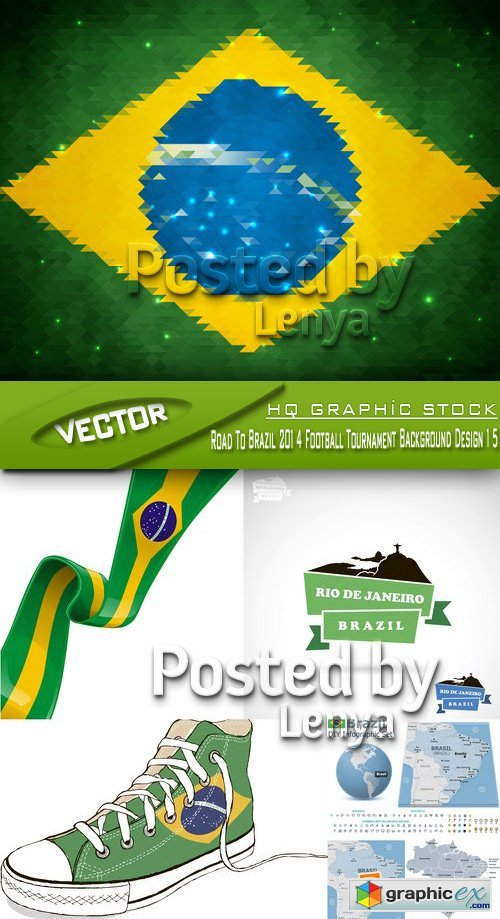 Stock Vector - Road To Brazil 2014 Football Tournament Background Design 15